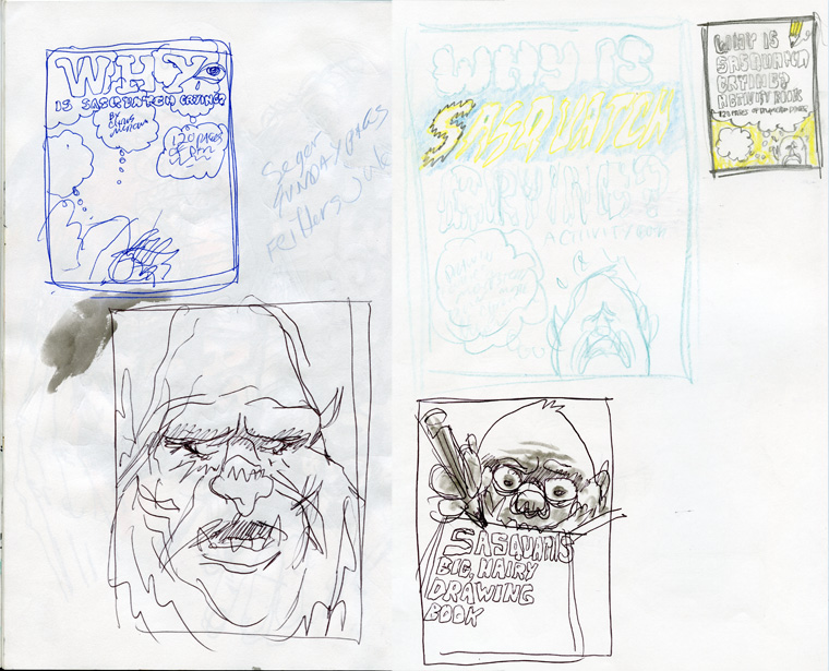 Thumbnail sketches of cover design ideas from my sketchbook.