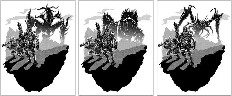 Lost Planet 2 t-shirt artwork with three Akrid options