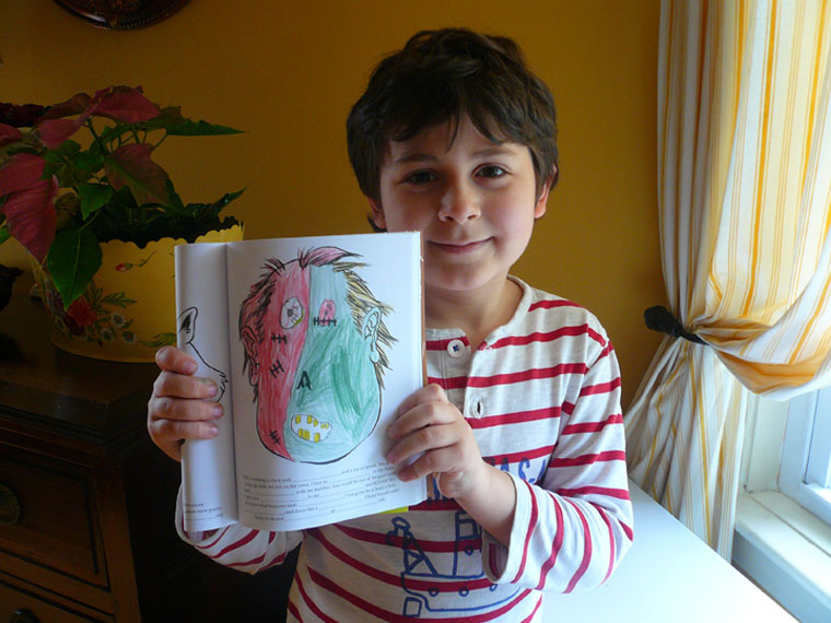 Sasquatch's Big Hairy Drawing Book in action: A superb monster drawing from my editor Jay's nephew!