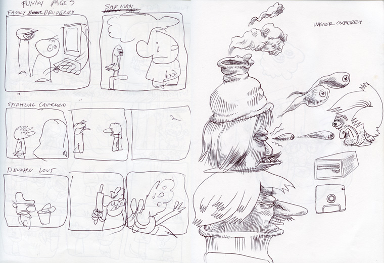 """Crude sketched out ideas for the """"Funny Pages"""" section of the book and a doodle on the right that inspired the """"Turtleneck Champ"""" page in the book."""